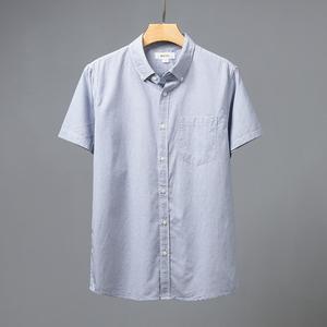 【MKTO】<span class=H>男装</span>时尚都市细格子单排扣纯棉舒适短袖衬衫10595