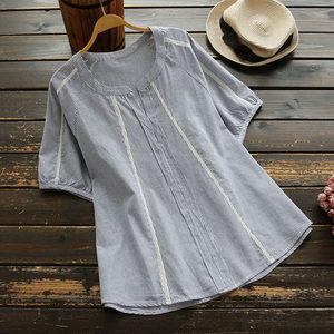 4645新款大码夏季女装细条纹短袖<span class=H>衬衫</span>蕾丝拼接显瘦日系打底衫上衣