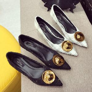 韩版上班鞋尖头<span class=H>高跟鞋</span>女细跟单鞋呢料格子布圆扣时尚职业女鞋中跟