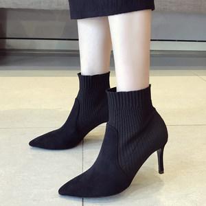 欧洲细跟袜靴弹力布高跟女<span class=H>靴子</span>加绒<span class=H>短</span>靴绒面上班鞋尖头毛线<span class=H>针织</span>潮