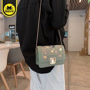 猫猫包袋2019最新款韩版蕾丝亮片链条小方包包ins斜挎单肩<span class=H>女包</span>潮