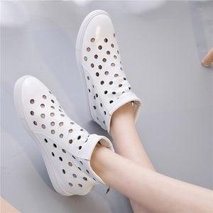 凉靴女2018新款真皮夏季短靴<span class=H>女靴</span>女平底镂空洞洞鞋拉链凉鞋坡跟鞋