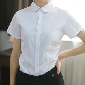 新款白衬衫短袖女小圆领暗门襟竖纹收腰翻领职业装工服正装白<span class=H>衬衣</span>