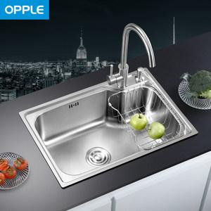 OPPLE304不锈钢<span class=H>水槽</span>单槽一体加厚厨房洗菜盆洗碗池带龙头套装Q