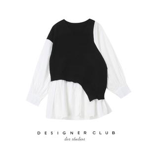 MMC studio2019新款不规则拼接针织连衣裙假两件衬衫设计感闺蜜装