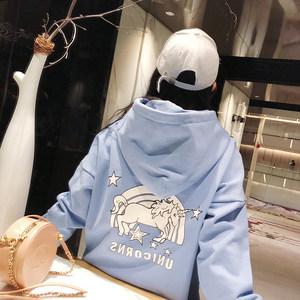 宝宝狮子2018新款冬长袖蓝色韩版宽松连帽加厚雾霾蓝独角兽卫衣女