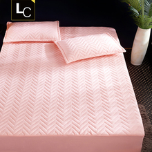 Bedding single piece thickening cotton quilt cover, mattress cover, Simmons protective cover, brown cushion, slip proof 1.8m1.5 m sheets