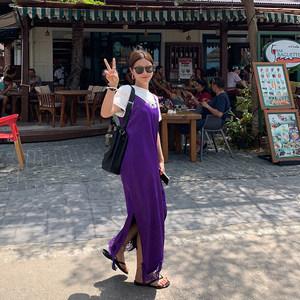 吾小历STUDIO chic紫色蕾丝花边V领吊带裙女2019夏季长款<span class=H>连衣裙</span>