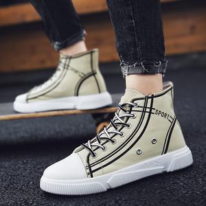 高帮帆布鞋男高邦布鞋休闲板鞋