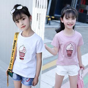 女童夏装短袖<span class=H>T恤</span>夏天体恤中童小学生女孩洋气半袖儿童白色打底衫