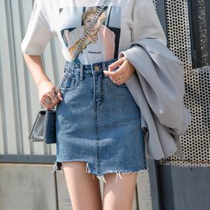 韓版2019夏季新款學生<span class=H>女裝</span>高腰復古顯瘦牛仔短裙不規則半身包臀裙