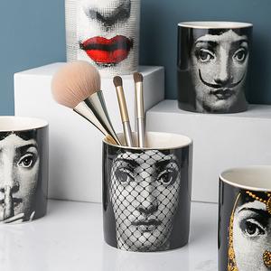 态生活 复古化妆品刷桶化妆棉收纳盒北欧笔刷桶桌面装饰品储物罐