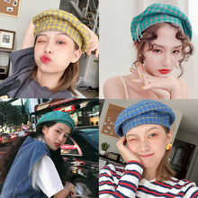 Net Red Hat Female Japanese Restoration Lattice Beret Summer Soft Sister Bud Cap Cute Painter's Cap