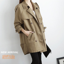 Spring and Autumn Trend of New Women's Wear Korean Version Loose Leisure Mid-long Double-breasted Windsuit Women's Overcoat in the Spring and Autumn Period of 2019