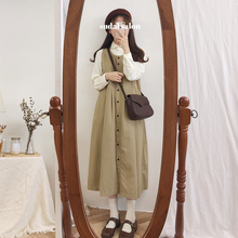 Suit Female Spring and Autumn Korean Chicson Female Strap Dress Loose Retro Corduroy Shirt Student