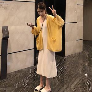 秋装新款韩版慵懒风长袖针织衫原宿毛衣开衫外套+背心裙两件套女