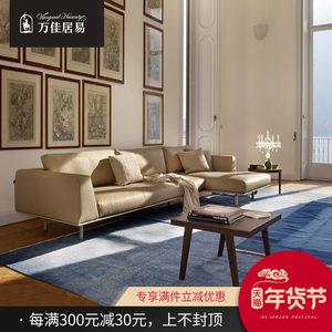 北欧皮沙发小户型客厅真皮组合整装现代简约风格羽绒头层牛皮转角