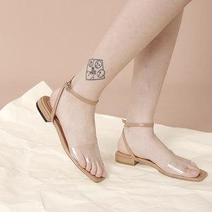一拾方女鞋2018新款透明低跟<span class=H>凉鞋</span>女夏平底<span class=H>凉鞋</span>一字带露趾chic鞋子
