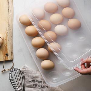 半房日式24<span class=H>格</span>塑料鸡<span class=H>蛋盒</span>带盖冰箱保鲜储物盒便携厨房防滑收纳盒