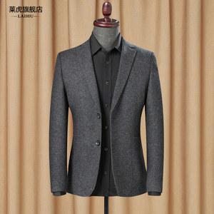 春秋季新款时尚休闲小西装男士修身韩版单件西服上衣羊毛呢子<span class=H>外套</span>