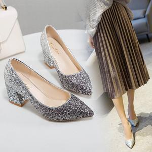 <span class=H>婚鞋</span>女渐变亮片银色高跟鞋尖头粗跟网红单鞋宴会伴娘水晶鞋<span class=H>新娘鞋</span>