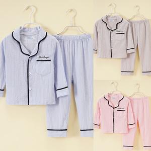 儿童睡衣男童夏季棉纱布小女孩纯棉薄款中大童长袖家居服亲子套装