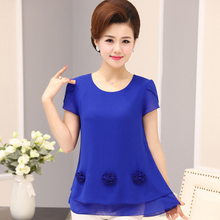 Mom's Mid-aged Women's Wear Summer Short-sleeved Chiffon Shirts 30-40-50 Years Old and Middle-aged Loose T-shirts Summer Dresses