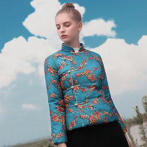 2019新款冬季中式复古民族风修身显瘦斜襟盘扣短款女装轻薄<span class=H>羽绒服</span>