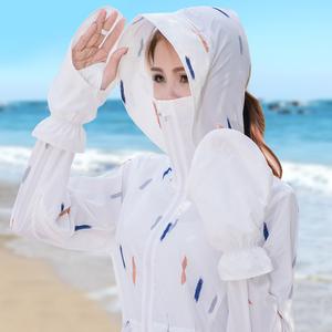 防晒衣女中长款防紫外线2018夏季新款韩版户外沙滩薄透气开衫<span class=H>外套</span>