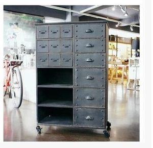 复古工业风格美式做旧工业抽屉柜铁皮<span class=H>收纳柜</span>边柜储物柜移动餐柜