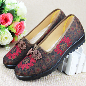 奶奶穿的鞋子女春老人太太平底软底北京布鞋女春季中老年人妈妈鞋