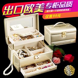 首饰盒公主欧式韩国带锁结婚礼物简约<span class=H>珠宝</span>箱耳环耳钉手饰品收纳盒
