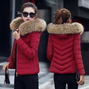 2018冬装新款韩版<span class=H>棉衣</span>女大码短款加厚显瘦棉袄大毛领修身棉服外套