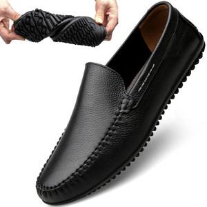 夏季<span class=H>男鞋</span>头层<span class=H>牛皮</span>镂空透气休闲皮鞋男真皮软底软面皮男士豆豆鞋子