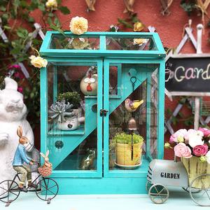 美式复古家居阳台花园艺首饰店铺植物<span class=H>鲜花</span>房玻璃收纳柜子橱窗摆件