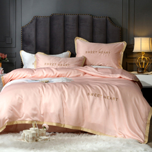 High-end 60 Tencel Four-piece Set of European-style Ice Wire Naked Sleeping Double-sided Silk Slip Bed Sheet Bed Cover in Summer