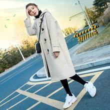 Horn-buttoned wool jacket for mid-long winter 2019 Student Mori hooded wool overcoat for small women with thicker stature