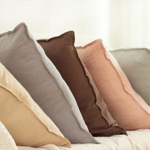 简约时尚棉沙发<span class=H>抱枕</span>套粉色靠枕 北欧纯色卧室水洗棉柔软靠垫 新品