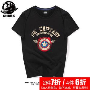 夏天男式短袖t恤衫美式复古潮牌复仇者联盟2美国队长夏季半袖体恤