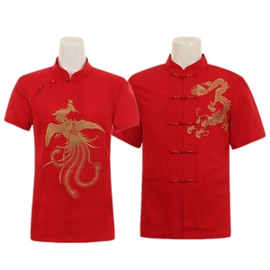 夏季复古亚麻短袖情侣装套装唐装<span class=H>中</span><span class=H>老年</span>男士生日婚宴红色棉麻衬衫
