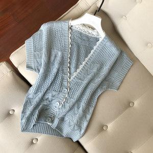 2019春装新款女装外套镂空短款空调衫秋季薄款宽松蝙蝠短袖针织衫