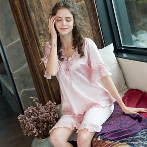 <span class=H>睡衣</span>女夏季短袖甜美少女冰丝可爱真丝绸家居服薄款女春秋两件套装