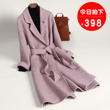 Anti-season double-sided wool shoulder wool cloth jacket medium-long autumn and winter 2019 new zero-double-sided cashmere overcoat for women