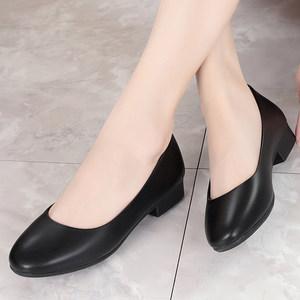 <span class=H>皮鞋</span>女上班黑色职业单鞋空姐工作鞋软底春低跟粗跟工装鞋浅口女鞋