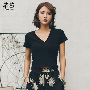 新款泰国复古度假风上衣黑色短袖V领t恤女装夏修身显瘦T恤<span class=H>打底衫</span>