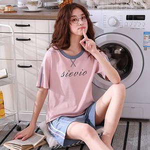 春夏季纯棉短袖套头少女可爱甜美韩版清新家居服睡衣可外穿两件套