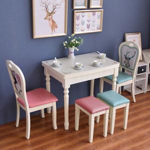 折叠桌子实木地中海可伸缩靠边站2 4 6 8 人家用简易小户型吃饭桌