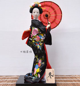 特价12寸日本人偶日式和服<span class=H>娃娃</span>木偶人形艺妓装饰<span class=H>摆件</span>家居工艺品