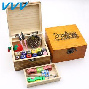 日本代购复古实木针线盒套装手工<span class=H>针线包</span>手缝家用缝纫线收纳盒缝衣