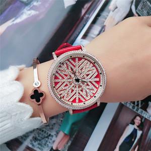 新款时尚大表盘时来运转女表镶钻红色真皮高档<span class=H>手表</span>潮流百搭时装表